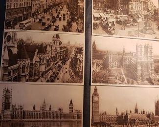 Postcards, London, Big Ben, Thames, Notre Dame, vintage, album