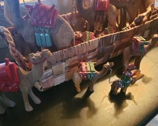 Camel, carving, set, colorful, whimsy