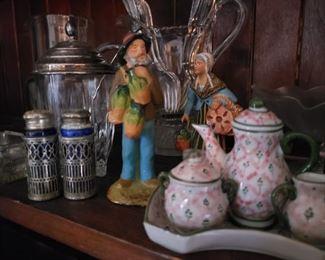 salt and pepper shakers, tea, tea set, statue