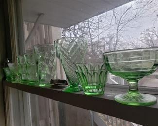 depression, green, glass, glasses bowls