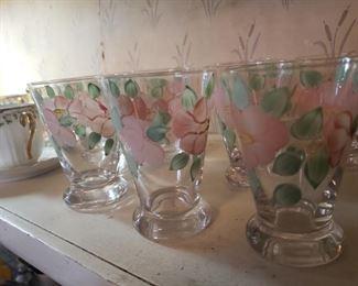 glasses, floral, set, pink