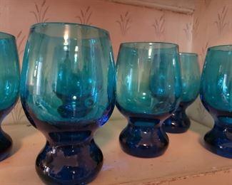 blue, glass, glasses, unique, whimsy, heavy