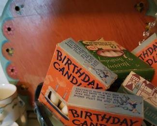 birthday, candles, tray, cake
