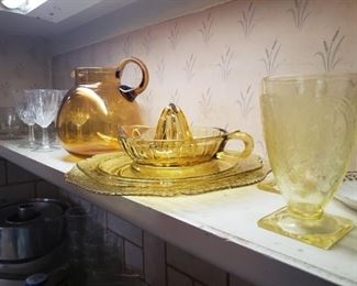 yellow, glass, juicer, pitcher, glasses