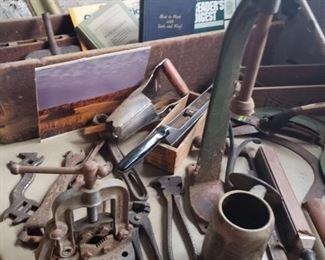 tools, antique, toolbox, book, saw, bulb planter, carpenter, handyman, collector