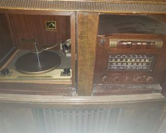 Vitrola, vintage, radio, record player, cabinet