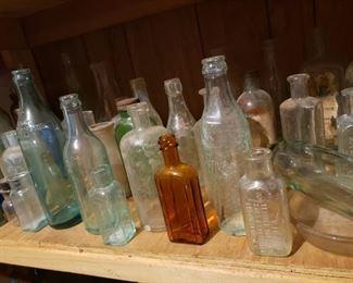 glass, bottles, antique, vessels, brown glass