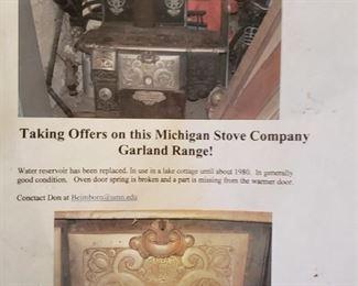 Michigan Stove Company, Garland Range, vintage, antique, repair, unique