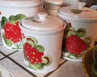 kitchen, jars, storage, red, ceramic, set