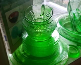 green, glass, depression, book, cup, bowls, plates, collector, collection