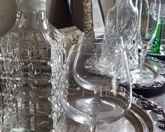 cut glass, decanter, silver, tray, glasses