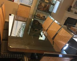 Mirrored Dining Table - damaged - (8) Chairs priced separately