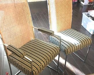 Close-Up of Chrome / Cane back Dining Chairs - (2) with Arms - (6) Without Arms