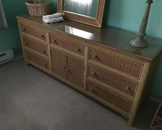 full size wicker bed frame with dressers and nights
