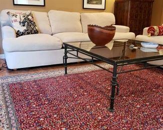 Henredon three cushion sofa together with white seasonal slipcovers, not shown