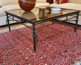 Metal and glass coffee table, appr. 48 inches square