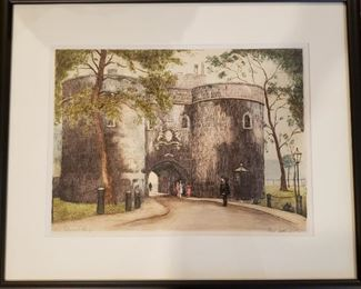"""""""Middle Tower, Tower of London"""" original etching by Cecil Tatton Winter after Edward King"""
