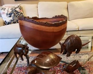 Artists signed carved cherry bowl and carved wooden animals