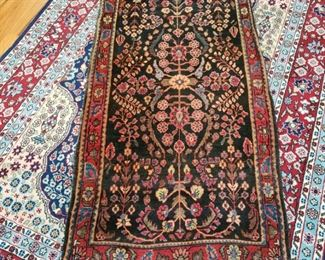 Antique Persian Sarouk throw rug 2 x 4 appr.