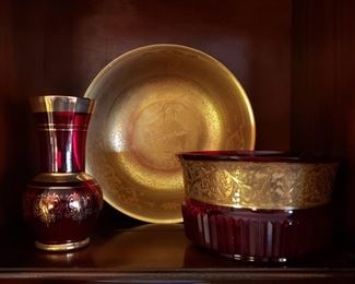 Ruby glass with gold trim and Osborne porcelain 22k bowl