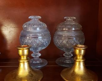 Osborne candlesticks and a pair of antique glass lidded compotes (one as is)
