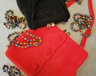 Belgium Walborg red beaded bag and a black beaded bag also Murano glass bead necklaces
