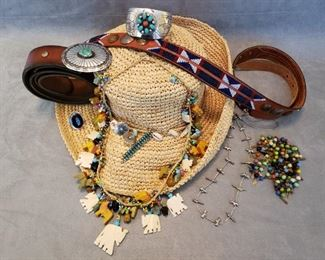 Southwest jewelry, hat and belt