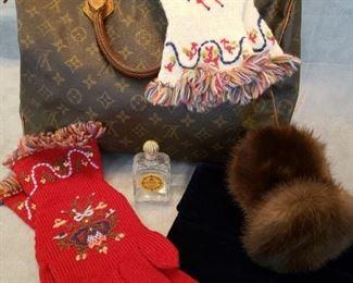 Wannabe LV bag, hand knitted mittens, mink ear muffs, velvet Bobbie  &  Jerome velvet handbag, vintage perfume bottle