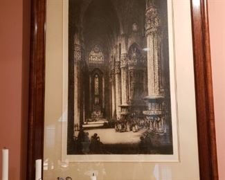 Framed etching by Albany F. Howarth