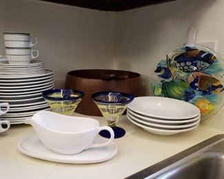 Large walnut salad bowl and other kitchenwares