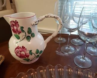 Tiffany & Co. pitcher and wine glasses