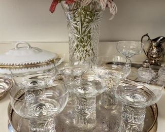 Rosenthal glassware and beaded flowers