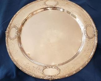 Sterling silver tray, 16 inch round