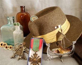 Vintage glass bottles, silver ship model, antique keys, cufflinks, 1939-1940 WWII Vichy Croix du Guerre medal