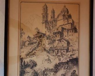 "Weidenaar etching ""The Burro Station"""