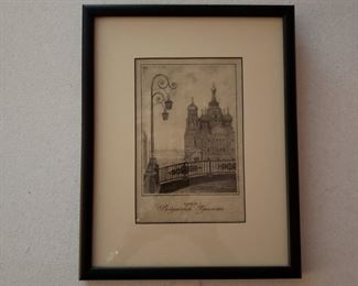Close up of one of the collage of etchings in the family room