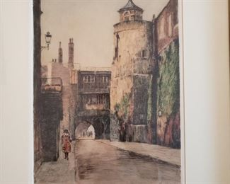 """""""Bell Tower, Tower of London""""  Original etching by Cecil Tatton Winter after Edward King"""