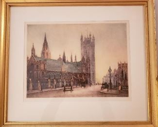 """""""St. Stephen's Westminster"""" original etching by Cecil Tatton Winter after Edward King"""