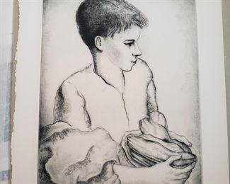 "Luis Quintanilla, Spanish 1895-1978 ""Garden Boy"" signed original drypoint, limited edition"