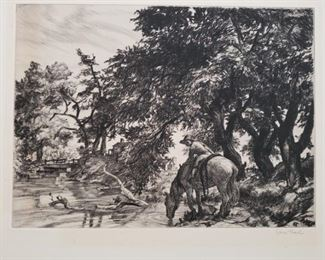 """""""Time Out""""  original signed etching by Sam Thal"""