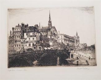 "Original signed etching by Frank P. Whiting ""Napoleon Bridge, Paris"""