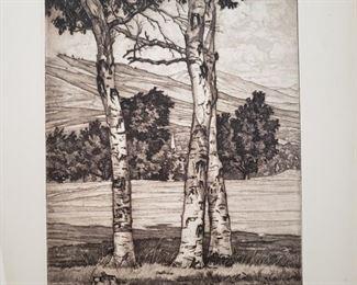"""The Three Graces""  signed original etching by Luigi Lucioni"