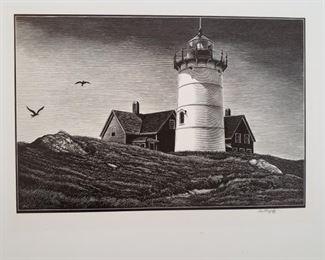 """Cape Lighthouse"" by Asa Cheffetz, signed original wood-engraving"