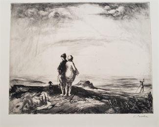 """Goodbye to Summer"" signed original etching Stephen Csoka"