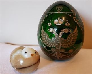 Russia St. Petersburg crystal egg and a marble egg with chick