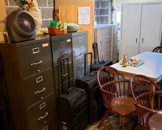 File cabinets and Tumi luggage