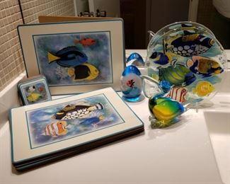 Fun fish items including an art glass paperweight by Elio Raffaelli