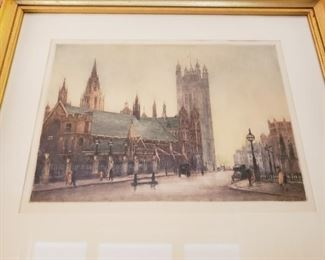 Edward King etching colored by Cecil Tatton Winter