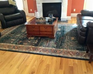 Coffee table with glass display case, matched
