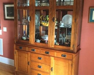 Nice china cabinet. wooden sign above cabinet is not in sale